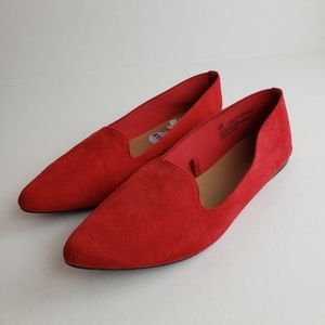 Seychelles womens faux suede loafers red slip on